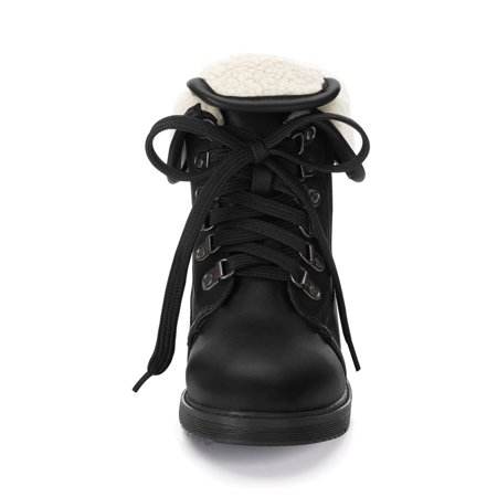 Women's Plush Winter Ankle Lace Up Combat Boots Black US 7.5 - image 5 of 7