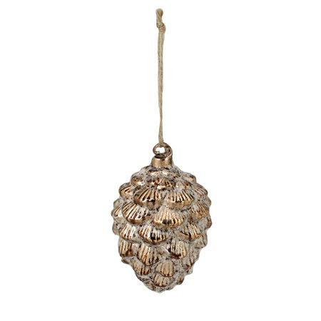 "5.25"" Bronze Iced Pine Cone Glass Christmas Ornament"