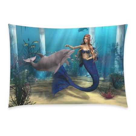 YKCG Ocean 3D Underwater World Home Decor, Mermaid Dolphin Starfish Pillowcase 20 x 30 Inches - Sea Grass Fish Blue Cotton Pillow Cover Case Shams Decorative Deep Blue Ocean Dolphins