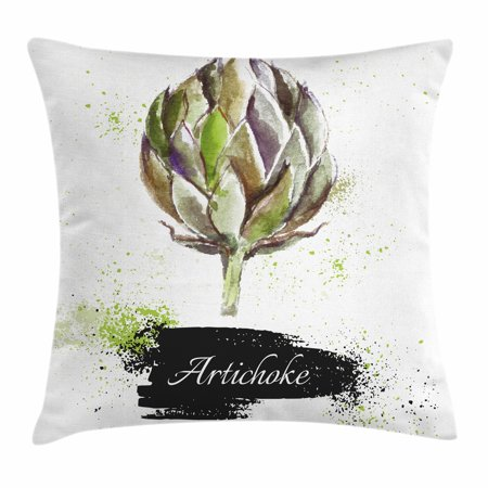 Artichoke Throw Pillow Cushion Cover, Hand Drawn Delicious Fresh Vegetable Healthy Menu Good Eats Super Food, Decorative Square Accent Pillow Case, 18 X 18 Inches, Fern Green and Black, by Ambesonne