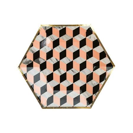 Harlow & Grey, Vanity Louis Cube Small Paper Plates, Hexagon, 8