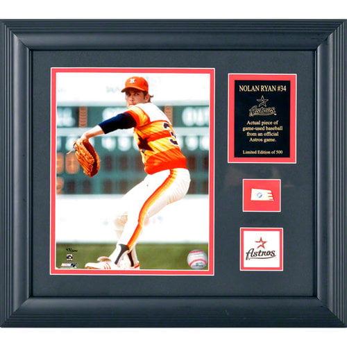 MLB - Nolan Ryan Houston Astros Framed 8x10 Photograph with Baseball Piece and Descriptive Plate