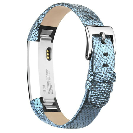 POY Fitbit Alta Bands Leather Alta HR Bands Adjustable Replacement Sport Strap Band for Fitbit Alta HR Accessory (Blue