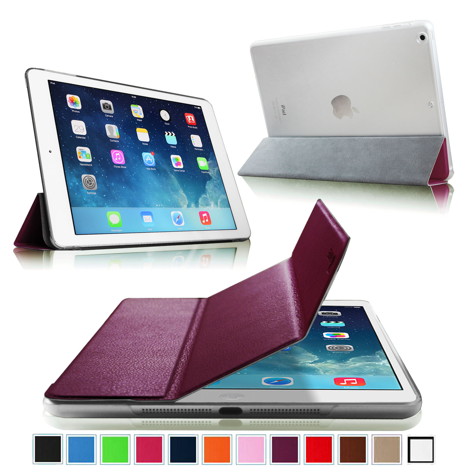 Fintie iPad Air Case - Lightweight cover with Semi Transparent Hard Shell Supports Auto Wake / Sleep, Purple