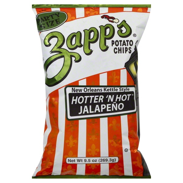 Zapp's New Orleans Kettle Style Hotter 'N Hot Jalapeno Potato Chips, 9.5 Oz.