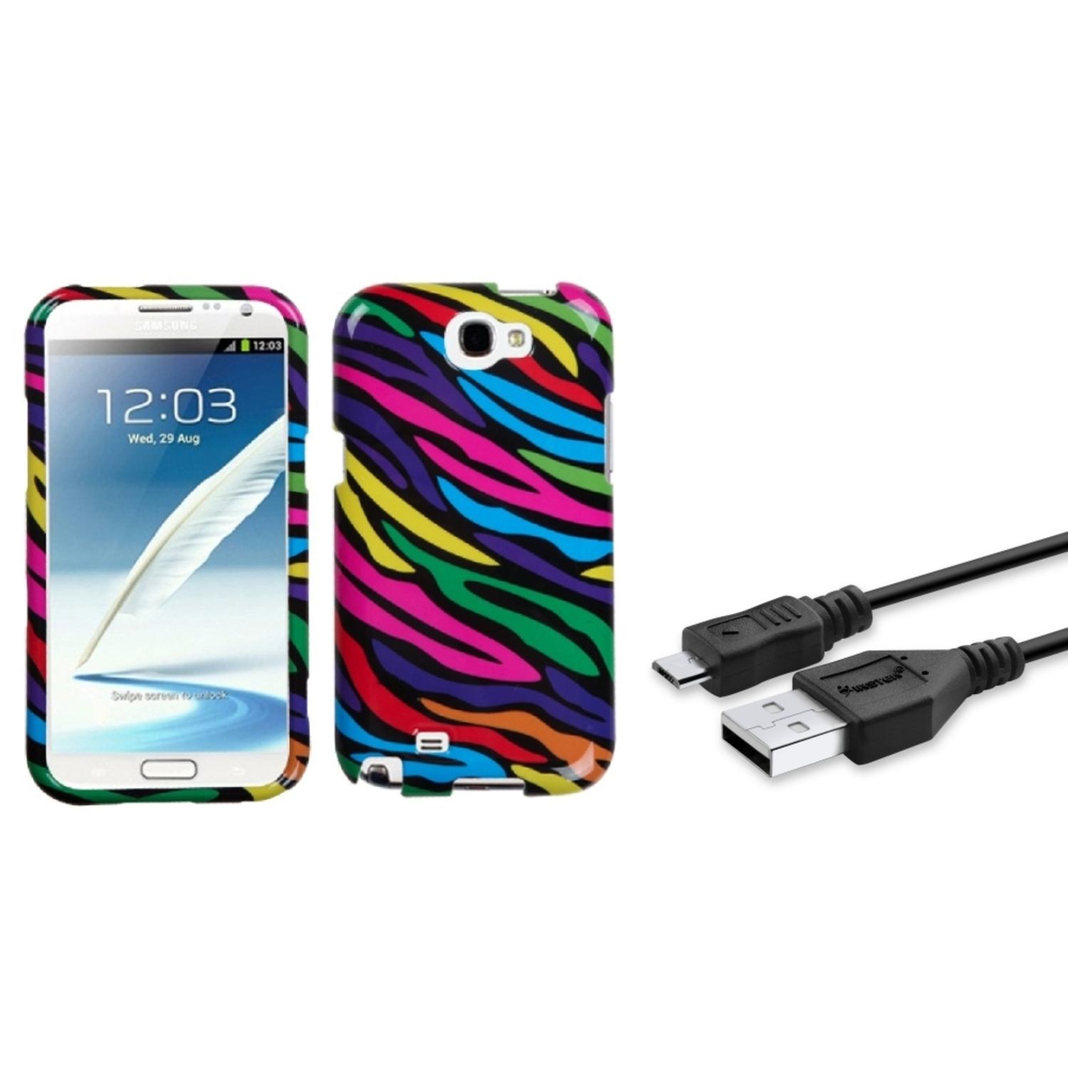 Insten Neon Zebra Hard Case+3FT USB Cord Cable For Samsung Galaxy Note 2 II