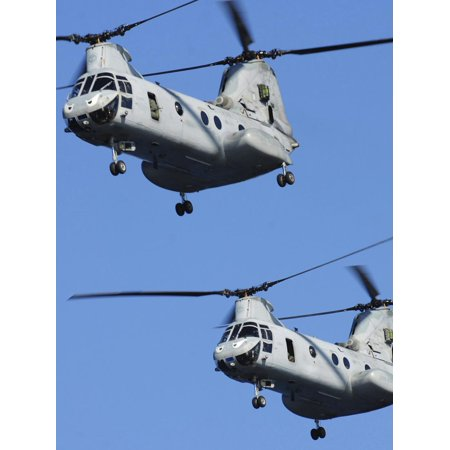Two U.S. Marine Corps CH-46E Sea Knight Helicopters in Flight Print Wall Art By Stocktrek Images