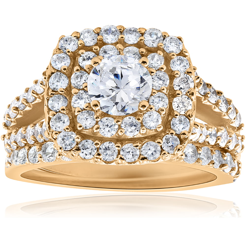 2ct Diamond Engagement Double Cushion Halo Wedding Ring Set 10k Yellow Gold by Pompeii3