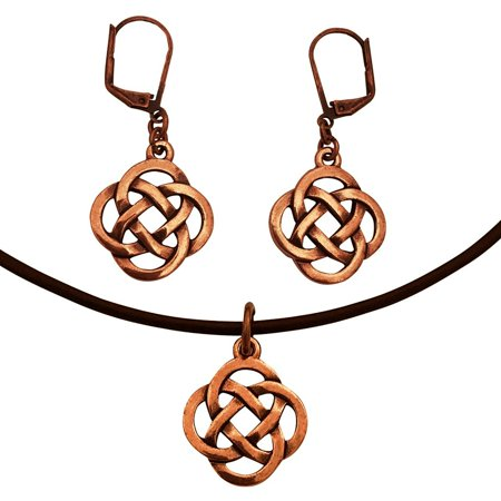 DragonWeave Celtic Infinity Knot Love Charm Necklace & Earring Set, Antique Copper Brown Leather Adjustable 16-18