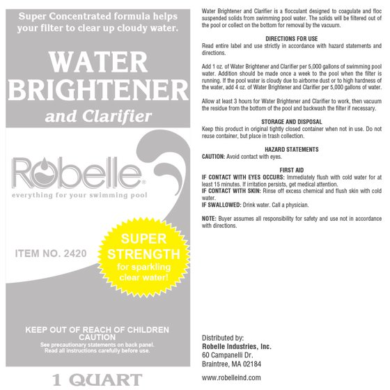 Robelle Water Brightener And Clarifier For Swimming Pools 1 Quart