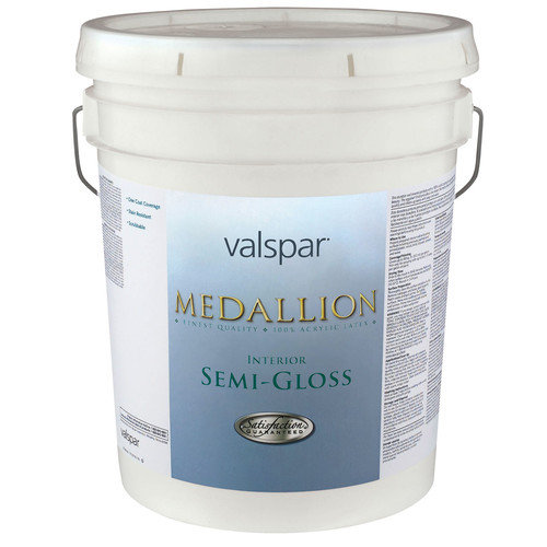 Valspar 5 Gallon White Base Medallion 100pct Acrylic VOC Interior Semi-Gloss