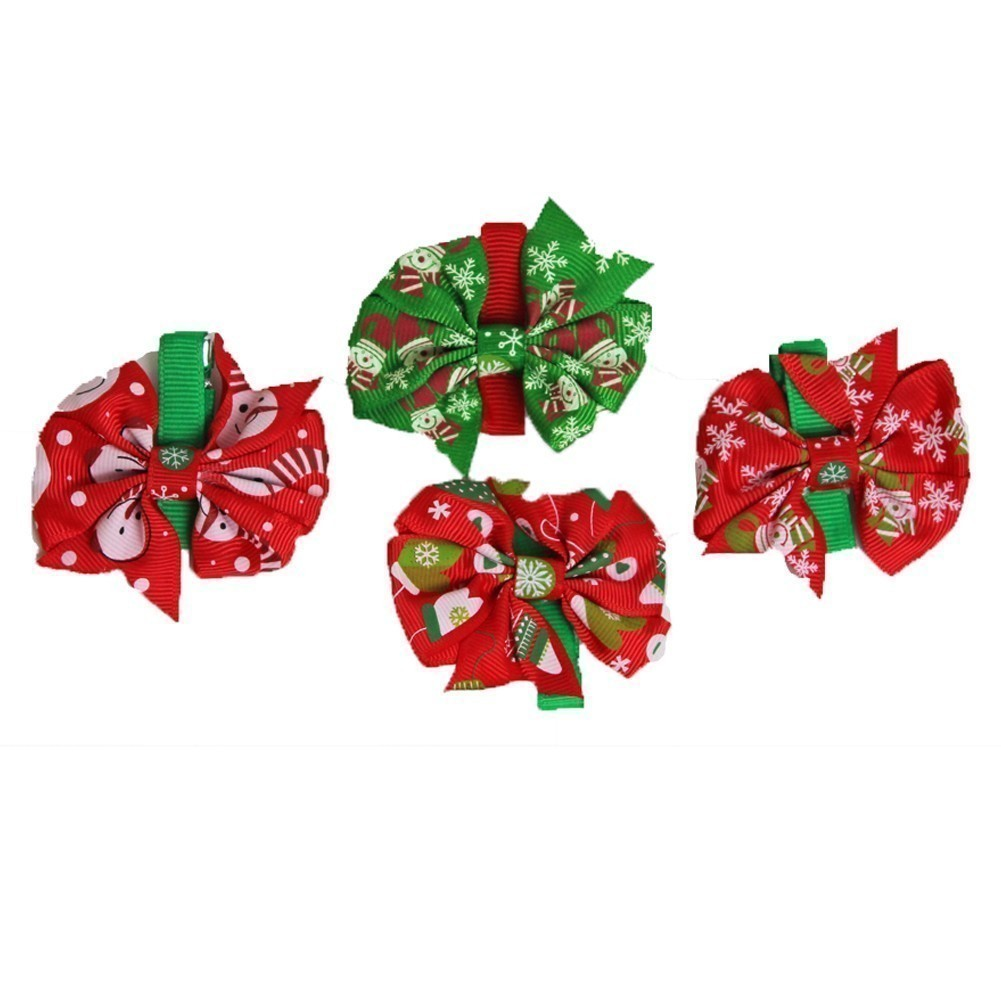 Z by Yoon Girls Red Green Christmas Motif Grosgrain 4 Pc Hair Clippie Set