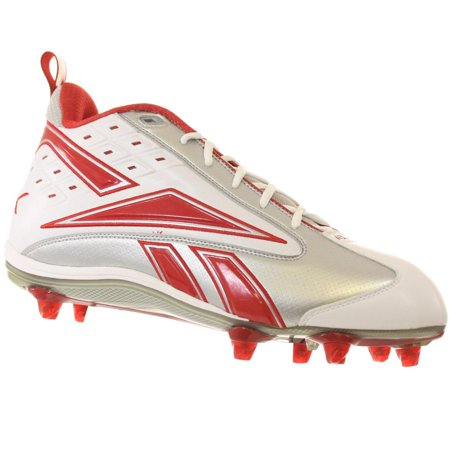 REEBOK MENS NFL THORPE II MID D2 WHITE SILVER RED DETACHABLE FOOTBALL CLEAT 13 M (Md Mid Football Cleat)