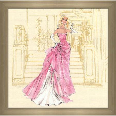 Picture Perfect International Pink gown with White Polka Dots Barbie  by Robert Best Framed Painting Print