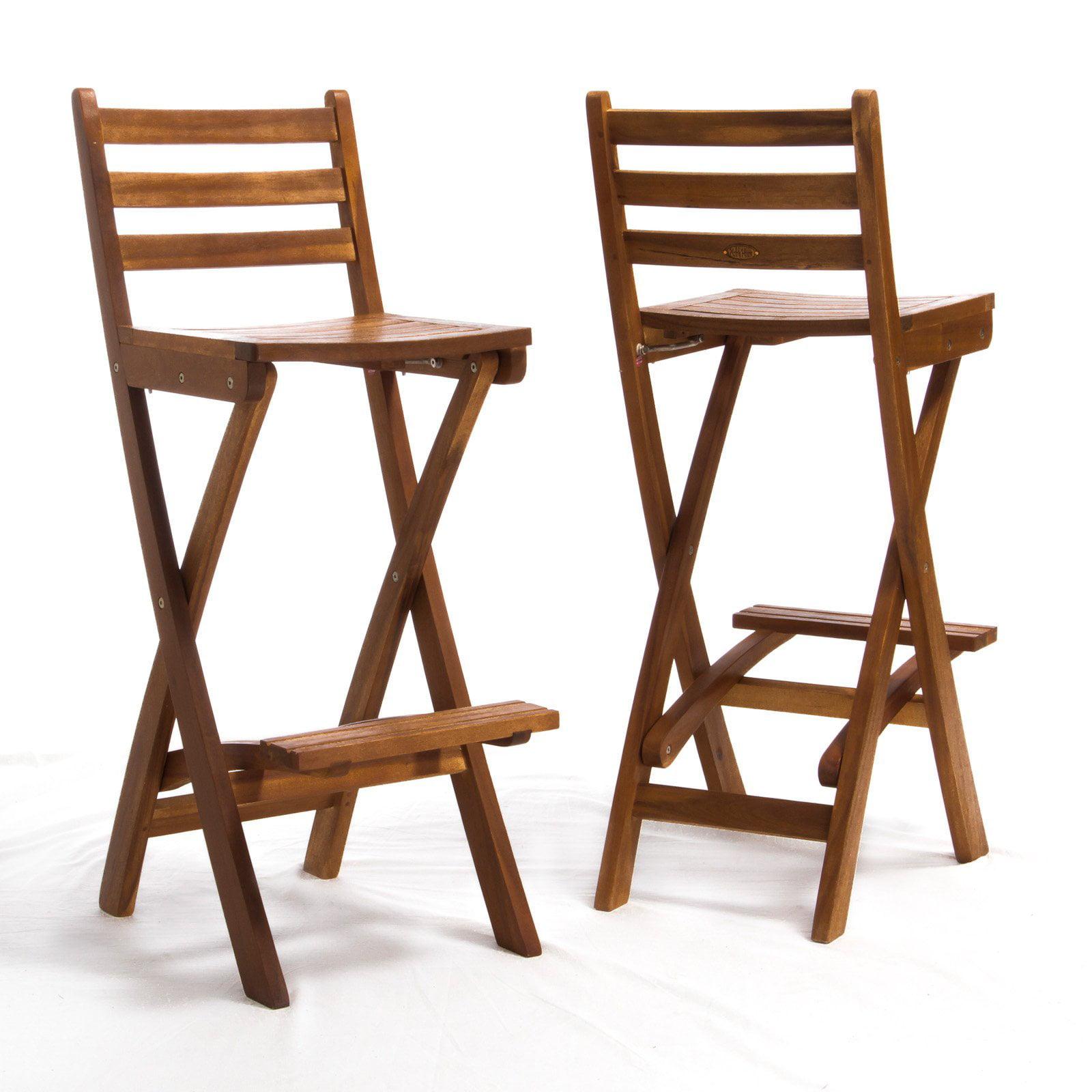 Folding kitchen stools with backs - Tundra Foldable Outdoor Wood Barstool