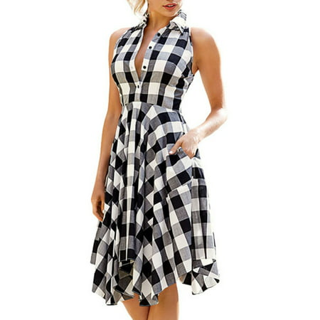 Babula Women Button Up Sleeveless Asymmertrical Hem Plaid Shirt Dress
