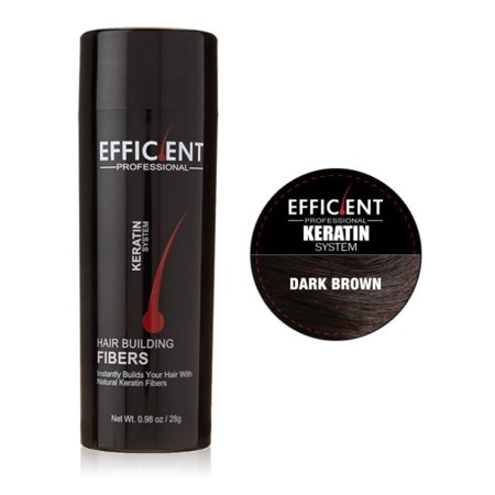 EFFICIENT Keratin Hair Building Fibers, Hair Loss Concealer Net Wt. 28gm / 0.98 oz (Dark