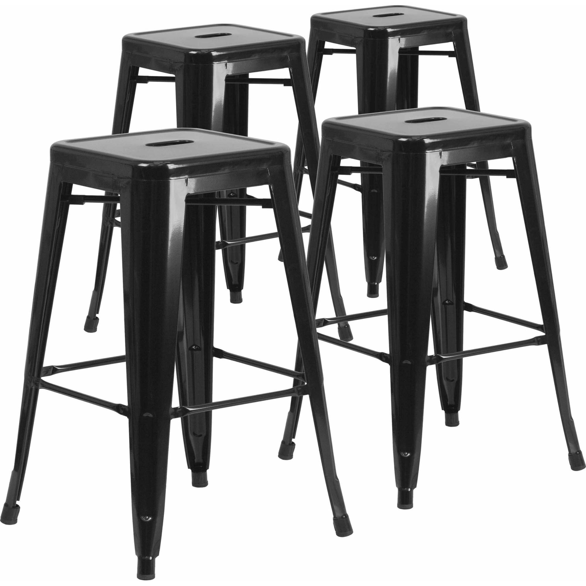Groovy Mainstays 29 Ladder Back Barstool Black Finish Beige Spiritservingveterans Wood Chair Design Ideas Spiritservingveteransorg