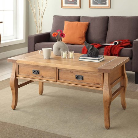 Linon Santa Fe Coffee Table, Two storage drawers, Antique Finish