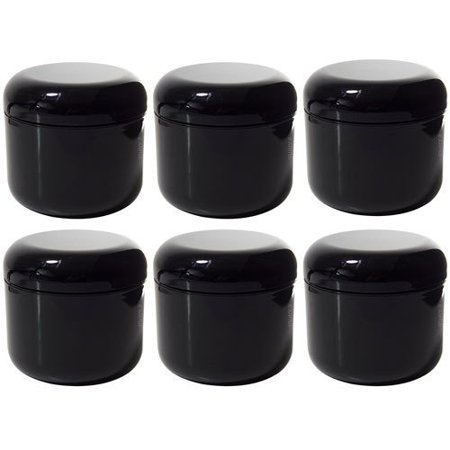Black Double Wall Plastic Jar with Dome Lid 4 oz (Pack of 6)