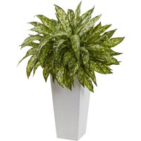 Nearly Natural Aglaonema with White Decorative Planter