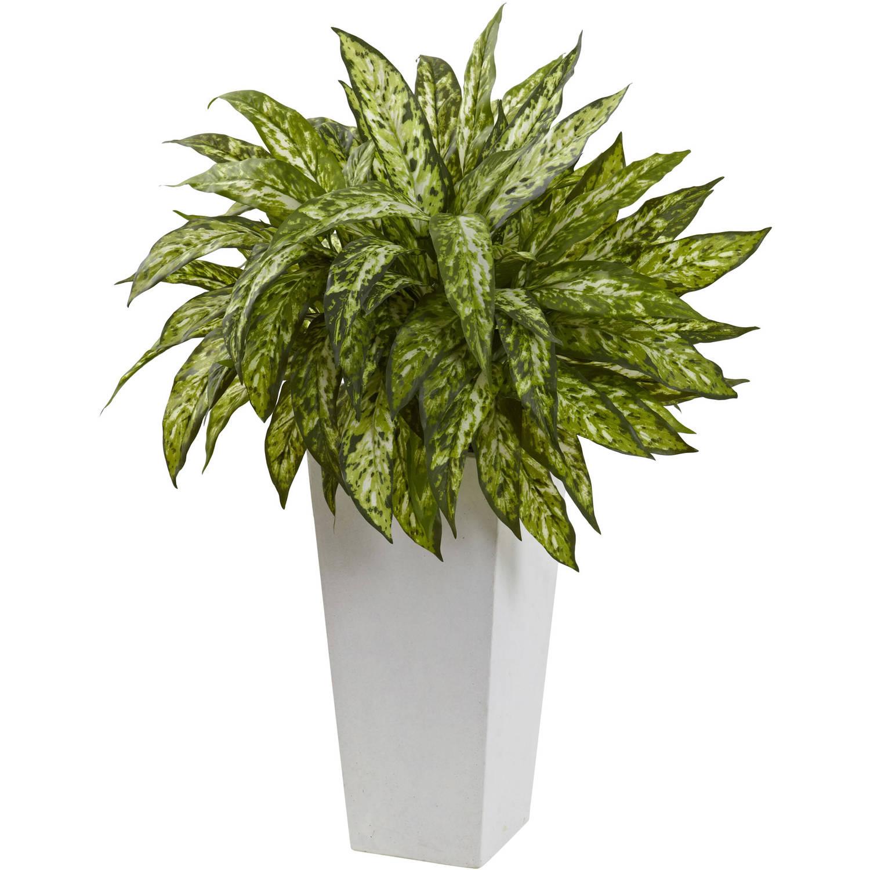Nearly Natural Aglaonema with White Decorative Planter