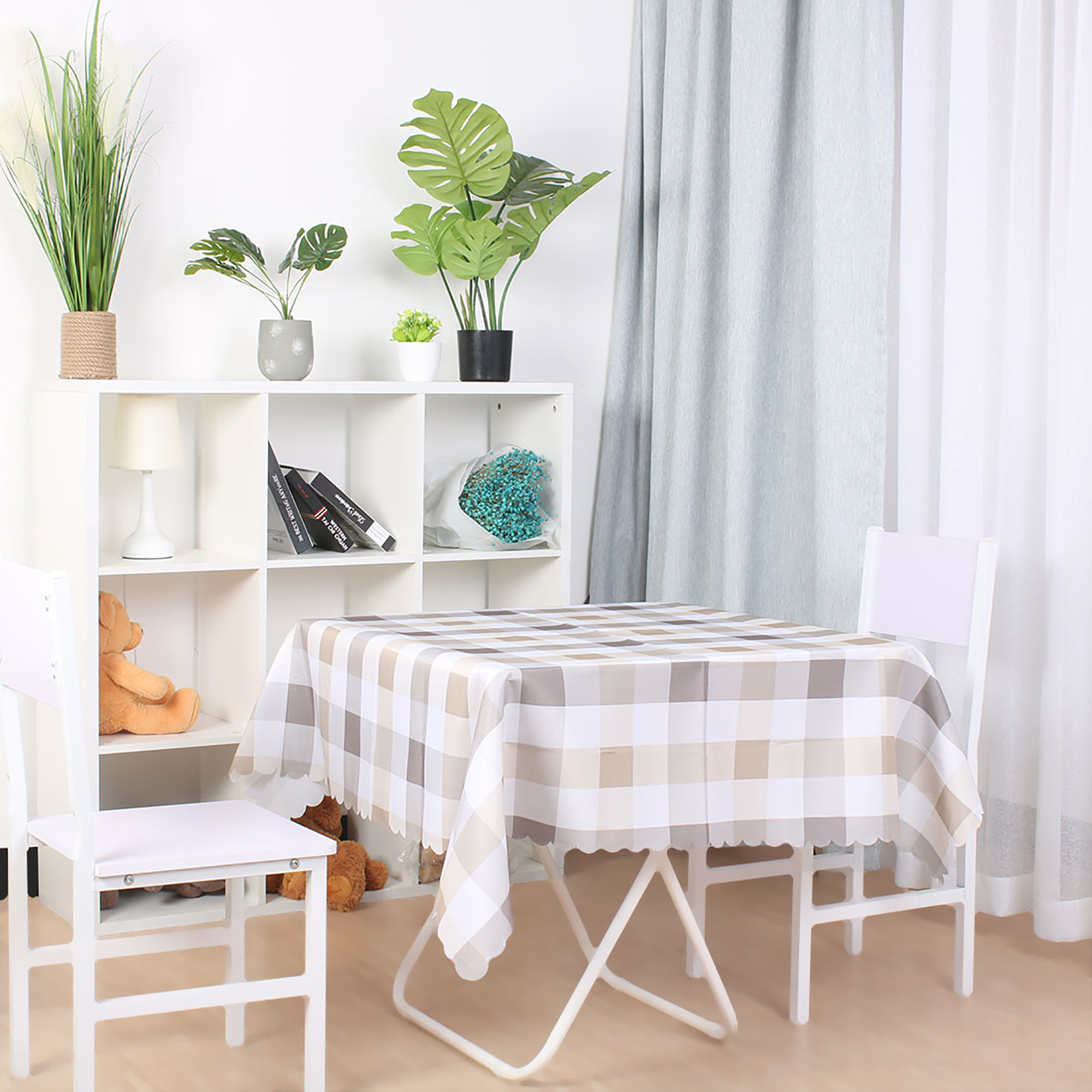 """Plaid Pattern Soft Tablecloths Cotton-linen Table Cover Kitchen for Party Wedding 55"""" x 55"""", #4"""