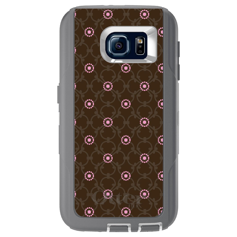 DistinctInk™ Custom Grey OtterBox Defender Series Case for Samsung Galaxy S6 - Brown & Pink Floral Pattern