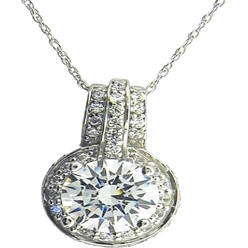 3.91 Carat T.G.W. White Cubic Zirconia Sterling Silver Pendant, 18""