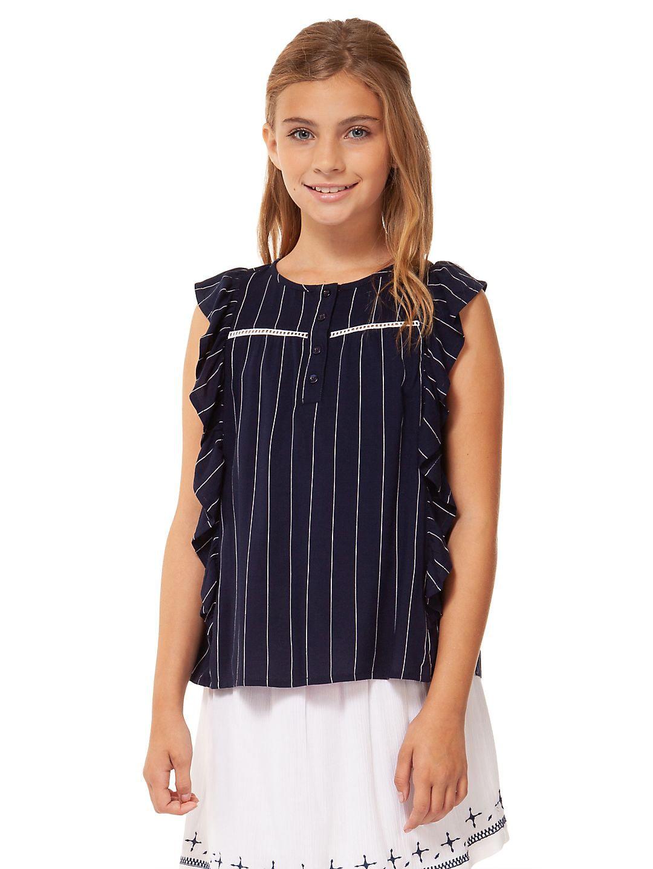 Girl's Striped Ruffle Top