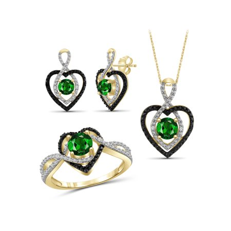 JewelersClub 2.00 Carat T.G.W. Chrome Diopside And Black & White Diamond Accent 14k Gold over Silver 3-Piece Jewelry (14k Black Jewelry Set)