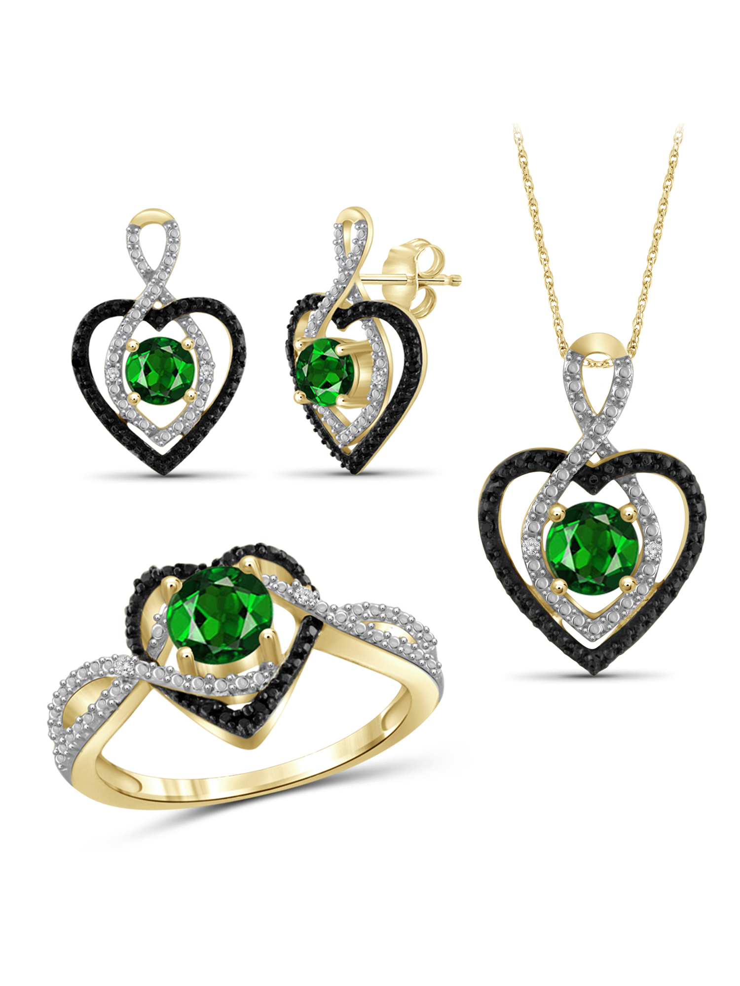 JewelersClub 2.00 Carat T.G.W. Chrome Diopside And Black & White Diamond Accent 14k Gold over Silver 3-Piece Jewelry set