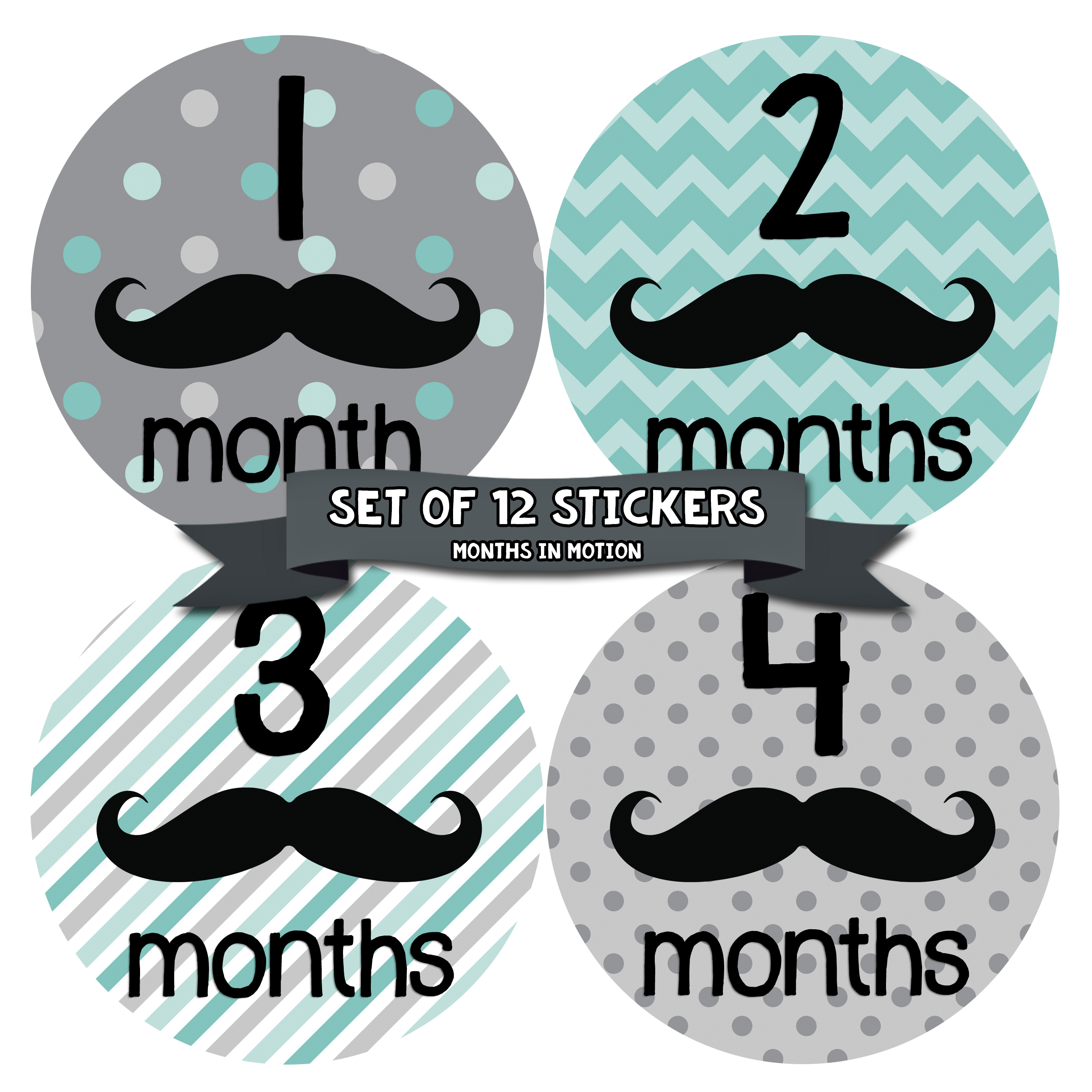 Months in Motion 161 Monthly Baby Stickers Baby Boy 12 Month Milestone Mustache