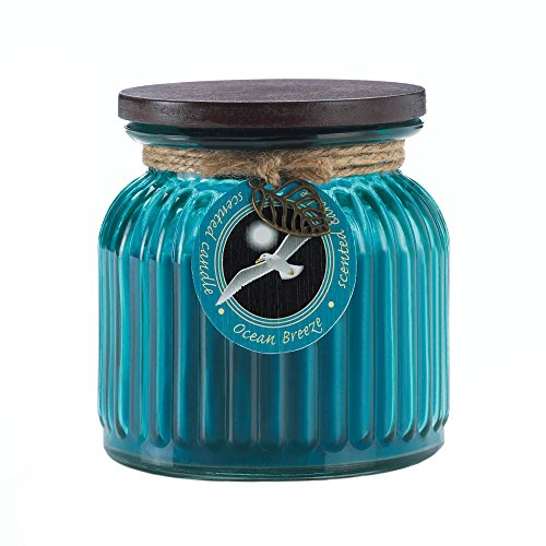 Ocean Breeze Ribbed Jar Candle Home Decor Home Decorative Items Accessories and Gifts