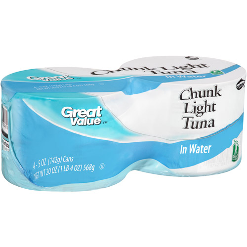 Great Value Chunk Light Tuna in Water, 5 oz, 4 count