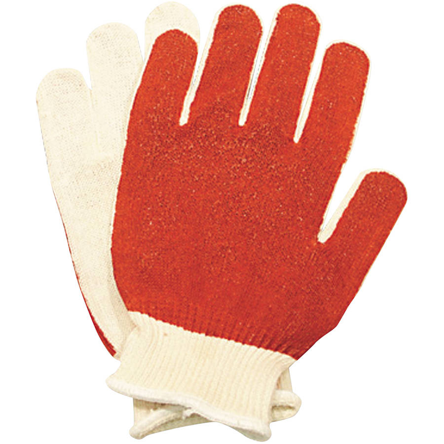 North Safety Smitty Nitrile Palm Coated Gloves, Medium, White/Red, 12 count