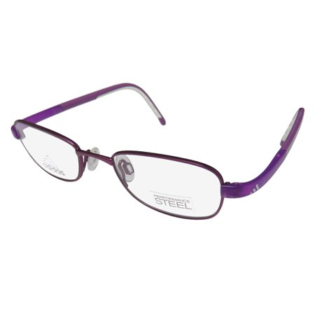 New Adidas A002 Unisex/Boys/Girls/Kids Designer Full-Rim Purple / White Children Kids Steel Contemporary Frame Demo Lenses 45-18-130 (Boys Eyeglasses Frames)