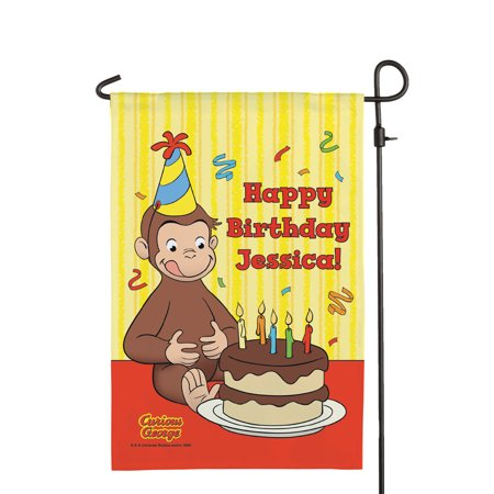 (Personalized Curious George Happy Birthday Flag)