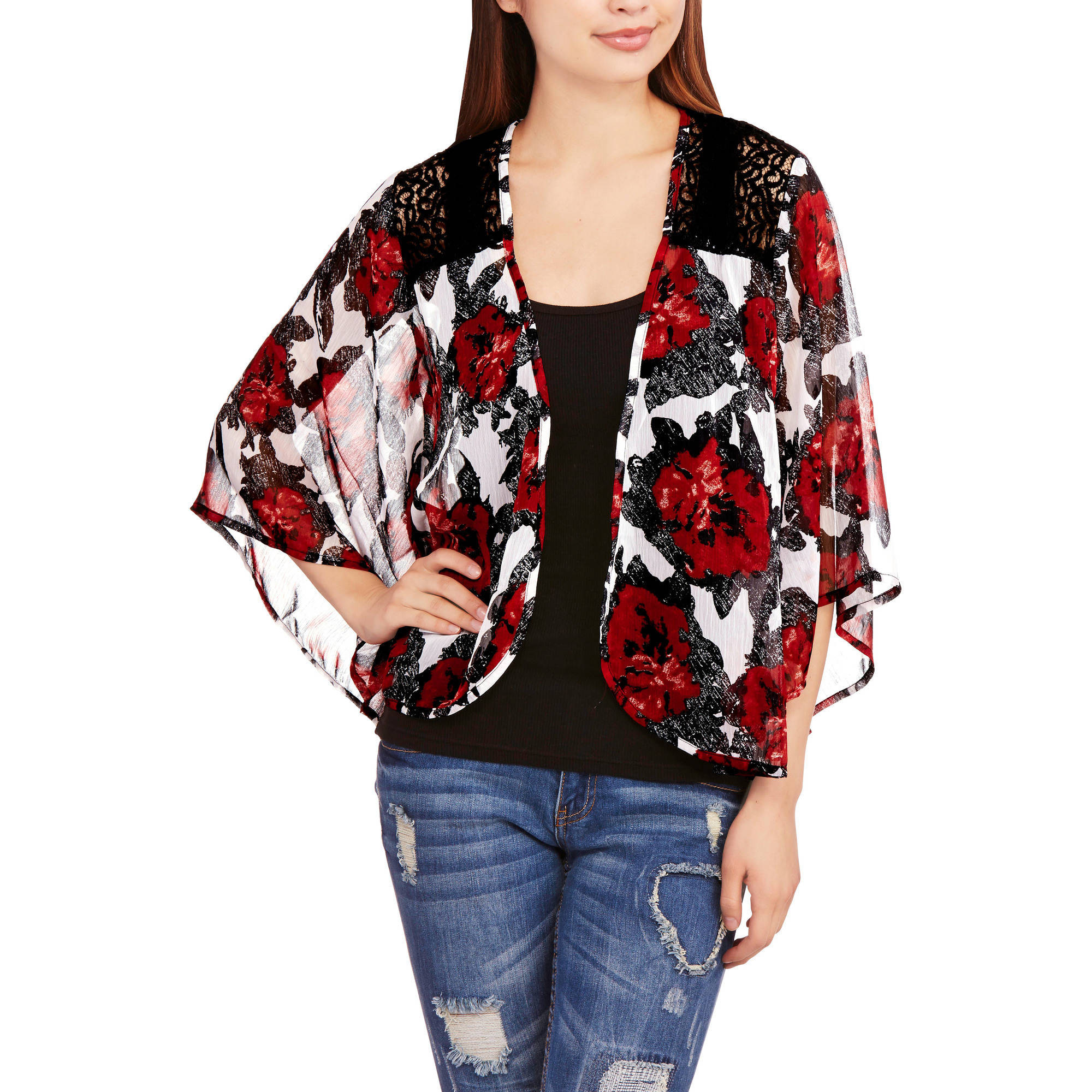 Eye Candy Juniors' Printed Lace Kimono