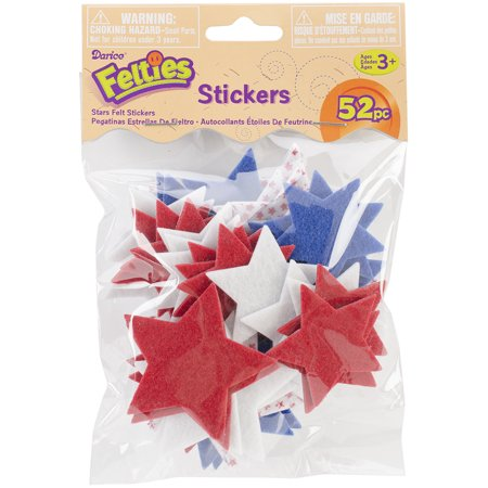 Felt Stickers Printed Stars 52Pc - Star Stickers