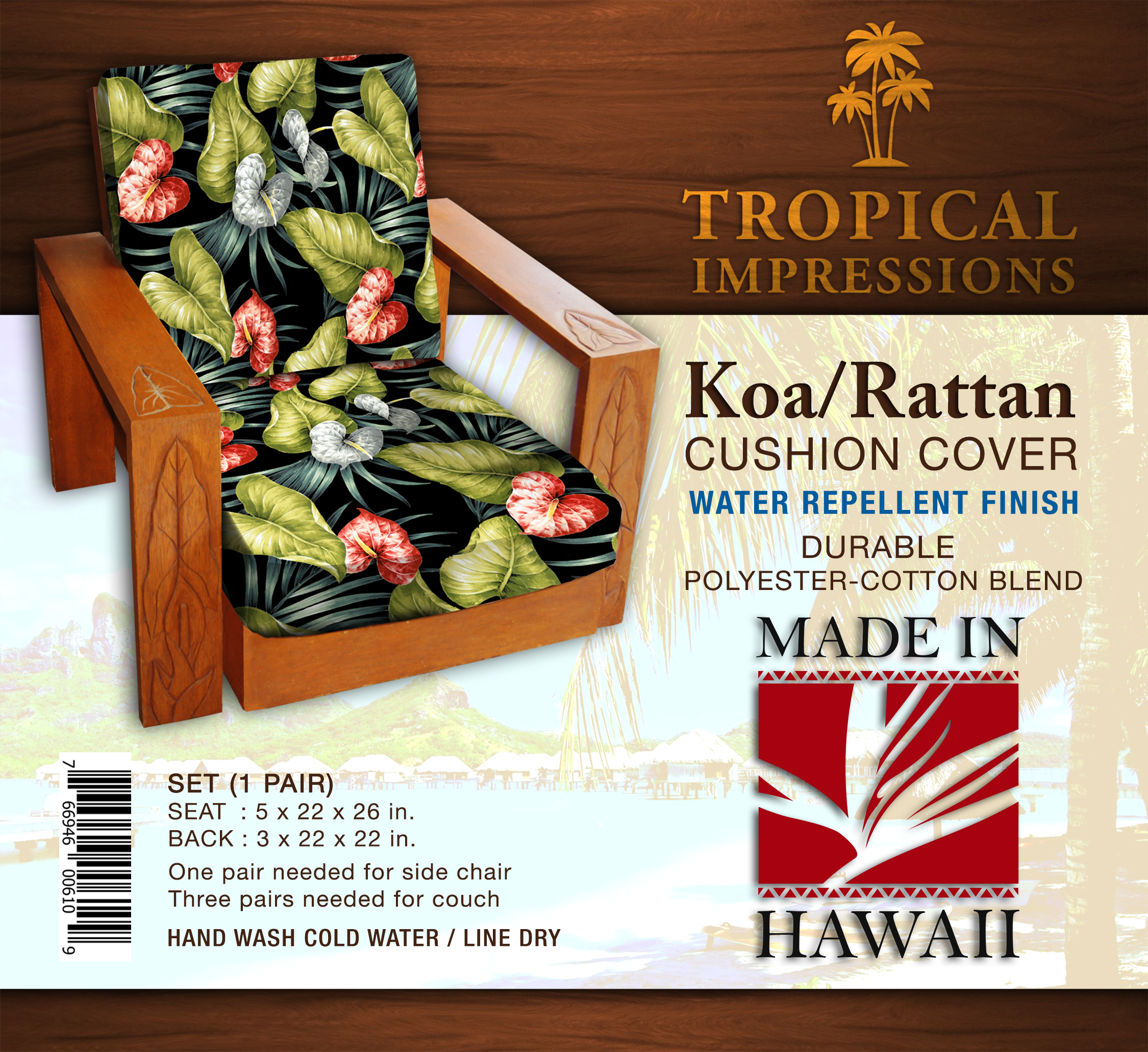 Hawaii Cushion Cover Black Anthurium Set