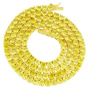 14k Gold Finish Tennis Link Necklace Canary Lab Created Cubic Zirconias 3 MM Men Women Chain 18 IN