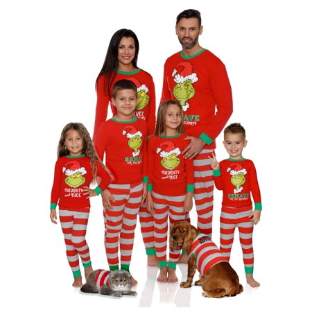Dr. Seuss Holiday Grinch Pajamas Cotton - Family Christmas Pajamas Set, Red, Women - Mom, Size: