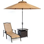 Hanover Outdoor Monaco Chaise Lounge Chair with 11' Umbrella and Side Table, Cedar/Bronze