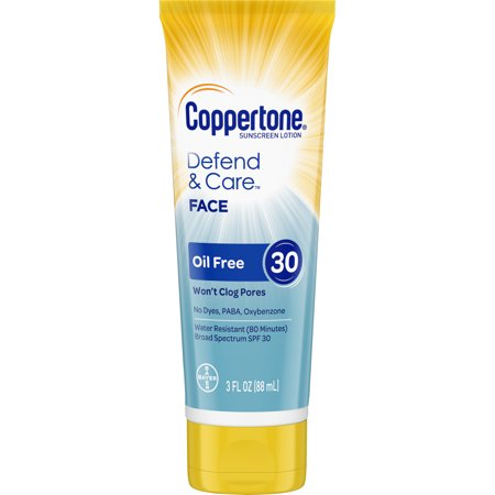 Pupa Face Care (Coppertone Defend & Care Sunscreen Oil Free Face Lotion SPF 30, 3 oz)