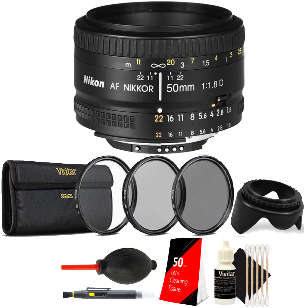 Nikon AF NIKKOR 50mm f/1.8D Prime Lens + Top Accessory Kit