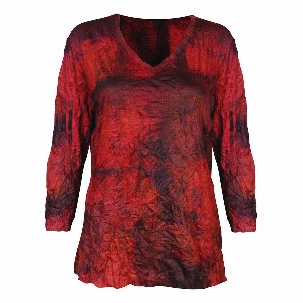 Women's Jess & Jane Red Blue & Black 3/4 Sleeve Melange Crushed Tunic Top