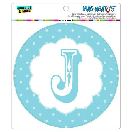 Letter J Initial Flower Blue - Circle MAG-NEATO'S(TM) Car/Refrigerator Magnet](Flower Magnets)