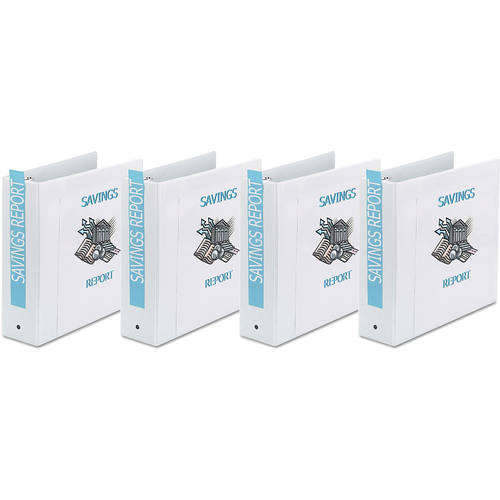 "Avery Economy Round Ring View Binder, 11 x 8 1/2, White, 3"", 4-Pack"