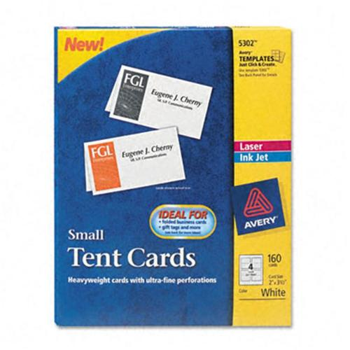 Avery 5302 Tent Cards  Whitem 2 x 3-1/2  4 Cards/Sheet  160 Cards per Box